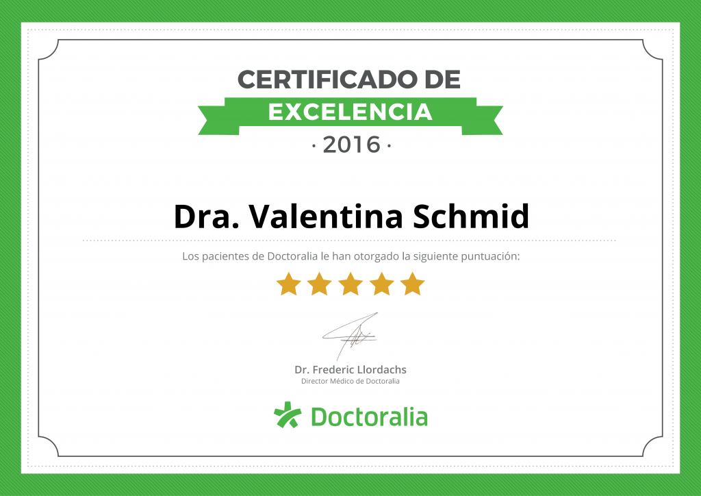 Certificado excelencia doctoralia Valentina Schmid